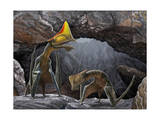 Tapejara Wellnhoferi Pterosaurs Seek Shelter Inside a Cave from a Rain Storm Posters
