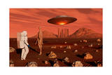 A Human Astronaut Making Contact with a Reptoid Alien on the Surface of Mars Poster