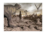 Tyrannosaurus Rex Dinosaur and Pteranodons on a Rocky Desert Landscape Posters