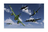 A Pair of German Me 262 Jetfighters Attacking B-17 Flying Fortress Bombers Prints