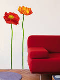 2 Red Poppies Mini Wall Decals Wall Decal