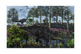 A Pair of Herbivorous Camptosaurus Dinosaurs Grazing Prints