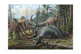 A Group of Young Hypacrosaurus Approach a Couple Rubeosaurus Relaxing in the Woods Prints