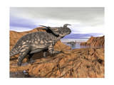 Einiosaurus Dinosaur on a Rock Observing an Argentinosaurus Art