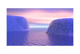Two Icebergs Face to Face in the Ocean with Pink and Violet Sunrise Prints
