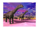 Two Argentinosaurus Dinosaurs in a Prehistoric Landscape Art
