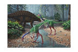 Ornithomimus Swallowing Stones Along a Stream as Part of their Diet Posters