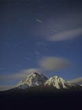 Orion Star Tails over Mt. Temple, Banff National Park, Alberta, Canada Photographic Print