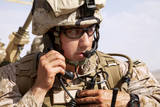 U.S. Marine Talks over the Radio in Afghanistan Photographic Print