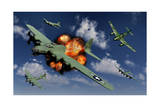 A German Me 262 Jetfighter Attacking B-17 Flying Fortress Bombers Prints