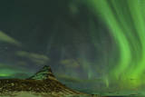 Spectacular Northern Lights over Mount Kirkjufell in Iceland Photographic Print