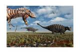 A Tyrannosaurus Rex Hunting Down a Pair of Ankylosaurus Dinosaurs Posters
