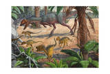 A Large Dracovenator Chasing a Group of Heterodontosaurus Dinosaurs Posters