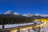 A Moonlit Nightscape over the Bow River and Morant's Curve in Banff National Park, Canada Photographic Print