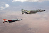 Two Qf-4E Phantom Ii Drones in Formation over the New Mexico Desert Photographic Print