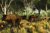 Diprotodon on the Edge of a Eucalyptus Forest with Some Early Kangaroos Photographic Print