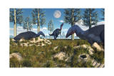 Camptosaurus Nesting Ground Set During the Jurassic Period Posters