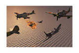 American F4U Corsair Aircraft Attacking Japanese Nakajima Torpedo Bombers Prints