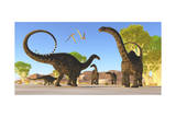 Herd of Apatosaurus Dinosaurs Wander Through a Prehistoric Forest Prints
