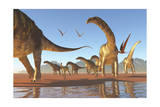 Two Deinocheirus Move Along with a Herd of Argentinosaurus Prints