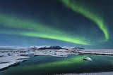 The Northern Lights Dance over the Glacier Lagoon in Iceland Photographic Print