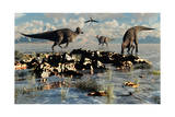 Herd of Corythosaurus Duckbill Dinosaurs Grazing Poster