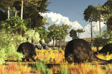 Prehistoric Glyptodonts Graze on Grassy Plains Photographic Print