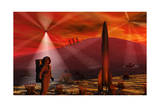 A Colony Being Established on an Alien Red Planet Print
