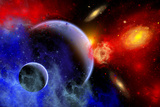 A Mixture of Colorful Stars, Planets, Nebulae and Galaxies Posters