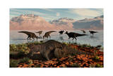 Herd of Corythosaurus Duckbill Dinosaurs Grazing Prints