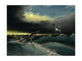 Pliosaurus Irgisensis Attacking a Shark Art