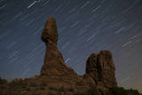 Balanced Rock Against a Backdrop of Star Trails, Arches National Park, Utah Photographic Print