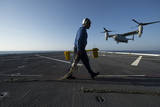 Aviation Boatswain's Mate Prepares to Chock and Chain an MV-22 Osprey Photographic Print