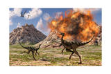 Pelecanimimus Dinosaurs Fleeing from a Volcanic Eruption Art