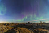 Aurora Borealis over the Badlands of Dinosaur Provincial Park, Canada Photographic Print