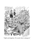 """Coffee and doughnuts. No wonder they're endangered."" - New Yorker Cartoon Premium Giclee Print by Joe Dator"