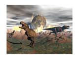 Tyrannosaurus Rex Dinosaurs Escaping a Big Meteorite Crash - Poster