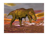 Aggressive Tyrannosaurus Rex Dinosaur Walking in the Desert Posters