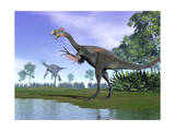 Two Gigantoraptor Dinosaurs in a Prehistoric Environment Posters