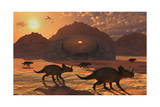 A Herd of Dinosaurs Walk Past a Flying Saucer Lodged into the Ground Prints