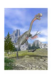 Gigantoraptor Dinosaur Running in the Mountains Prints