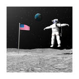 First Astronaut on the Moon Floating Next to American Flag Prints