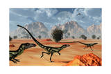 A Pack of Dilong Tyrannosaurid Dinosaurs Hunting Print