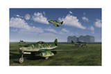 German Messerschmitt Me 262 Jetfighters at an Airfield in Germany Posters
