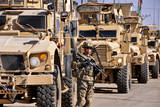 U.S. Army Soldier Stands Local Security Near Armored Convoy Vehicles Photographic Print