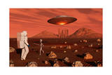 A Human Astronaut Making Contact with a Grey Alien on the Surface of Mars Art