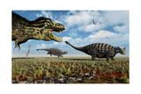 A Tyrannosaurus Rex Hunting Down a Pair of Ankylosaurus Dinosaurs Art