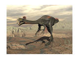 Gigantoraptor Dinosaur Walking on Rocky Terrain Art