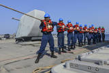 Sailors Heave a Line During a Man Overboard Drill Aboard USS Monterey Photographic Print