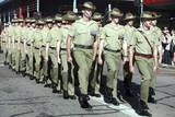 Australian Soldiers March in an Anzac Day Parade Photographic Print